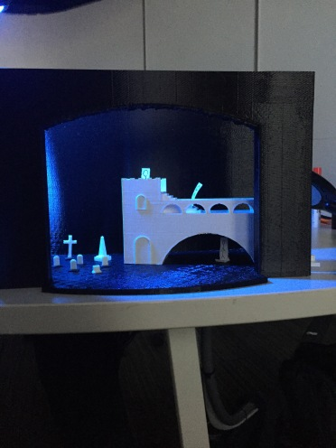 3D printed set design for a scene from Hamlet