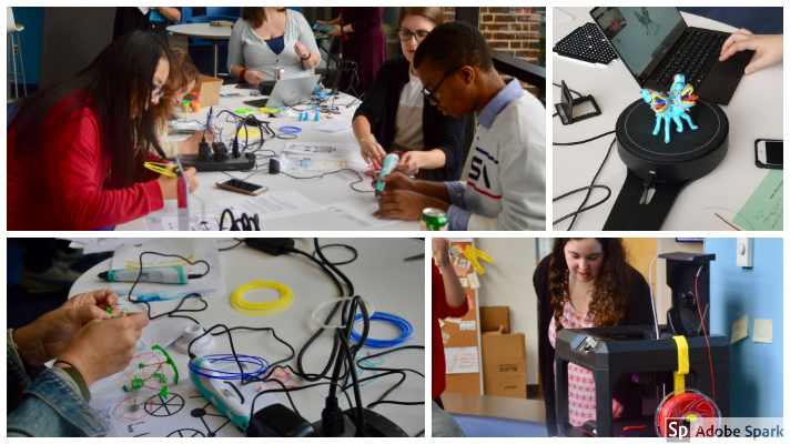collage of scenes from the maker space and users working with 3D tech