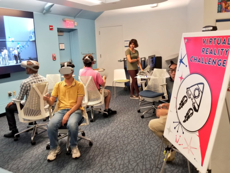 room of people wearing VR headsets